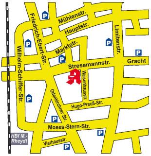 Anfahrtsskizze Schwanen Apotheke Mönchengladbach Rheydt